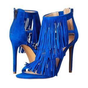 STEVE MADDEN Fringly Blu Suede Heels